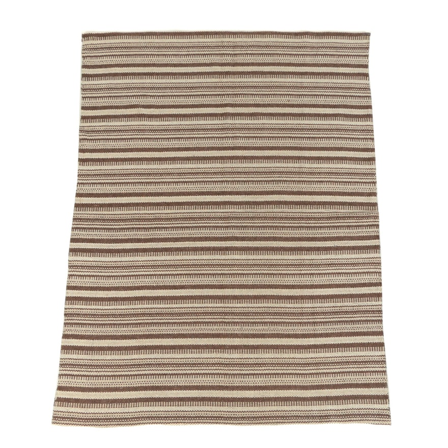 Handwoven Moroccan Cotton Blend Banded Area Rug