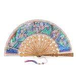 Chinese Embellished Paper and Celluloid Folding Fan, Vintage