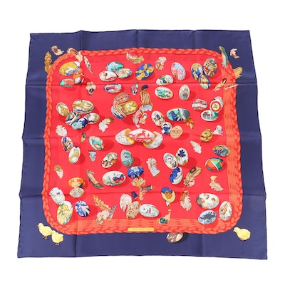 """Hermès """"Couvee d'Hermes"""" Silk Scarf Designed by Caty Latham"""