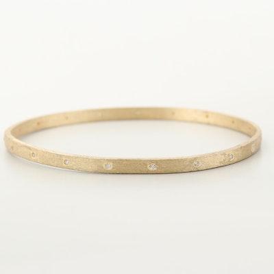 Gold Wash on Sterling Silver Glass Bangle Bracelet
