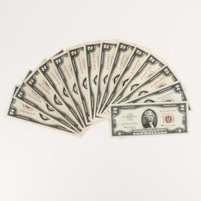 Fourteen U.S. $2 Legal Tender Notes