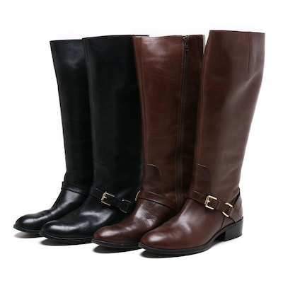 Ralph Lauren Black and Brown Burnished Calf Leather Riding Boots