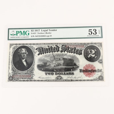PMG Graded 53 About Uncirculated Series of 1917 U.S. $2 Legal Tender Note