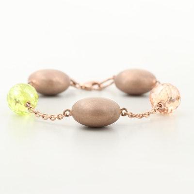 Gold Wash on Sterling Silver Glass Bracelet