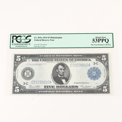 PCGS Graded About New 53PPQ Series of 1914 $5 Federal Reserve Note