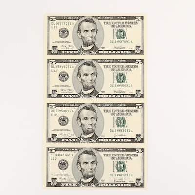 Uncut Sheet of Four 2003 U.S. $5 Federal Reserve Notes