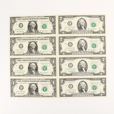 Two Uncut U.S. Currency Sheets
