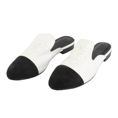 Anne Fontaine Stitched Floral Black and White Suede and Leather Mules