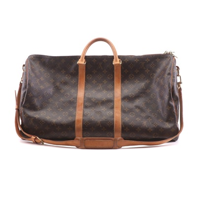 Louis Vuitton Monogram Canvas and Vachetta Leather Keepall Duffle Bag