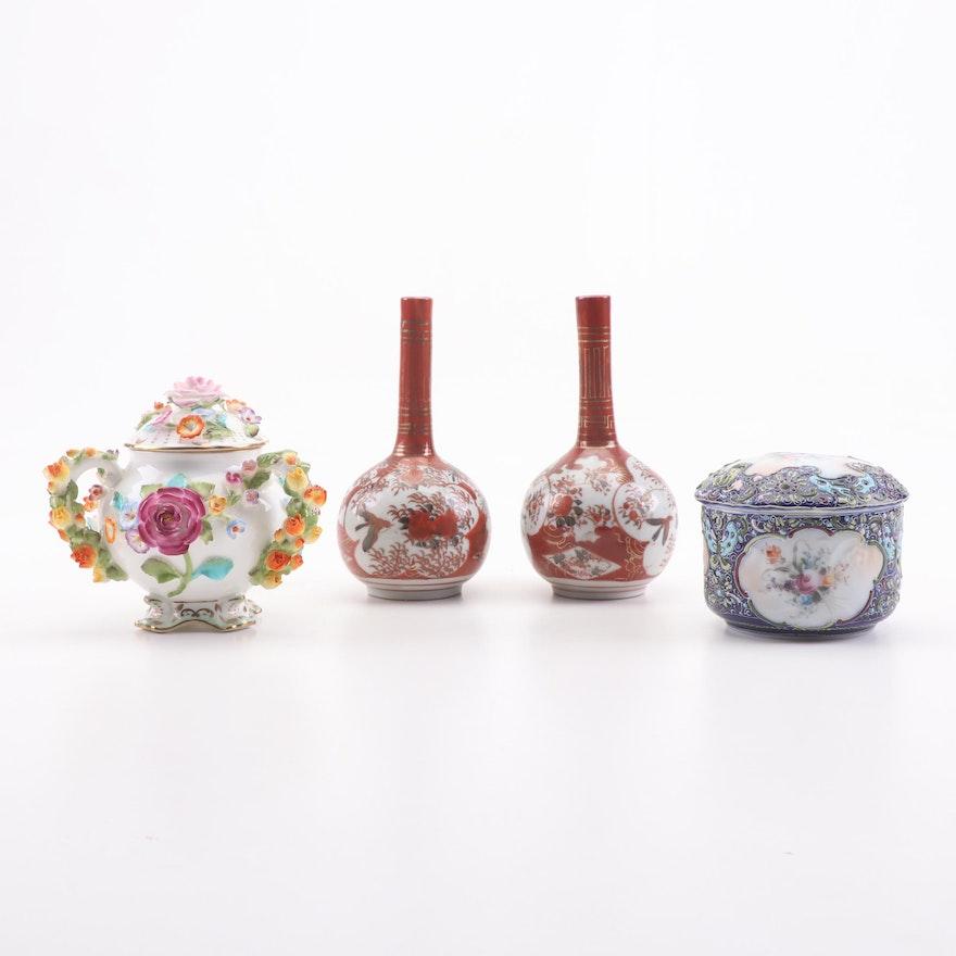 Porcelain Sugar Bowl, Decorative Box, and Vases Featuring Coalport Pottery