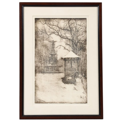 "Edward Timothy Hurley Etching ""Fountain in the Snow"""