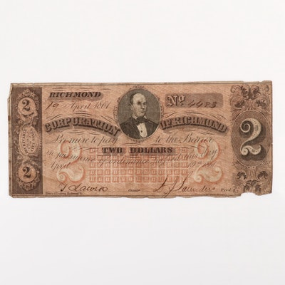 1861 Corporation of Richmond $2 Obsolete Currency Note