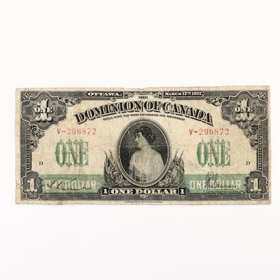 1917 Canada $1 Large Currency Note