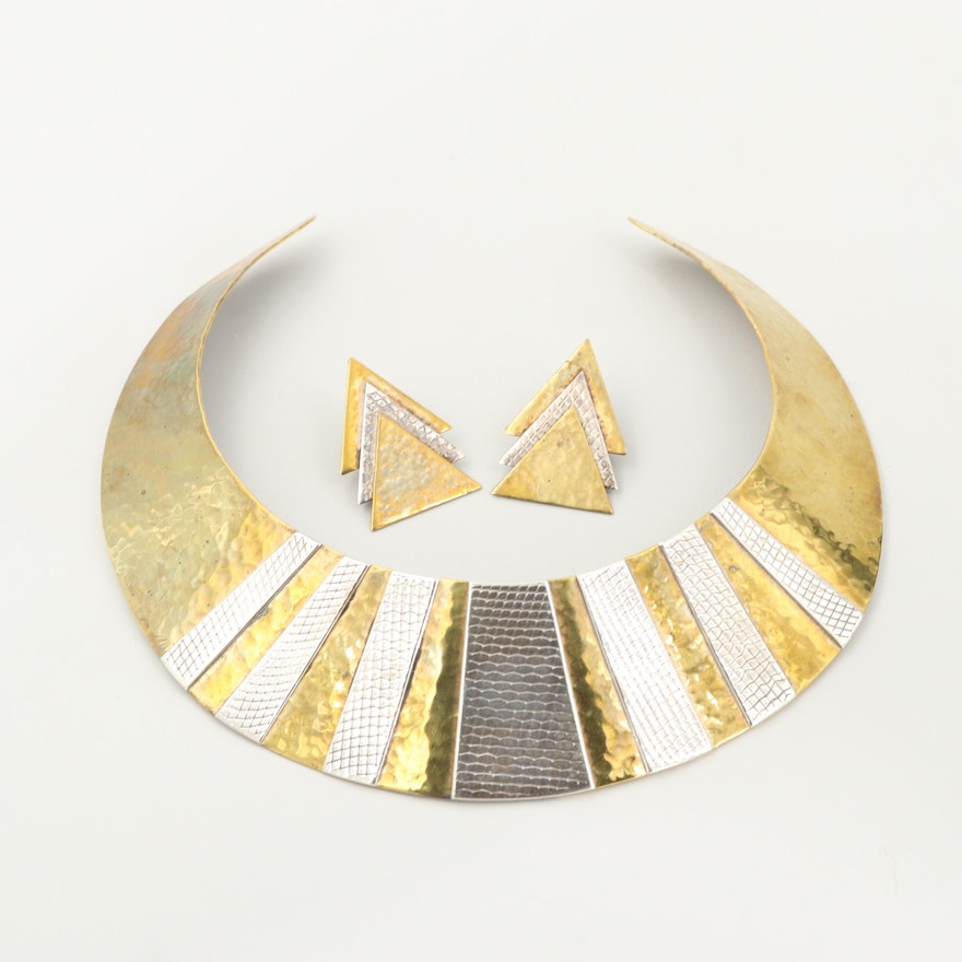Signed Sterling Silver Collar Necklace and Earrings with Gold Wash Accents
