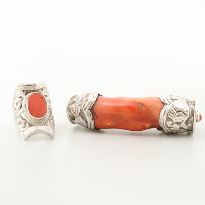 Sterling Silver Coral Pendant and Ring