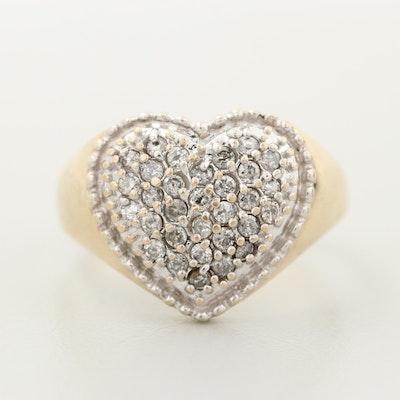 10K Yellow Gold Diamond Pavé Heart Ring