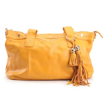 Cuore & Pelle Mustard Yellow Pebbled Leather Amelia Shoulder Bag with Tassel