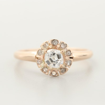 10K Yellow Gold Diamond Ring with Halo