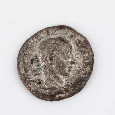 Ancient Roman Severus Alexander Silver Denarius, Circa 222-235 AD
