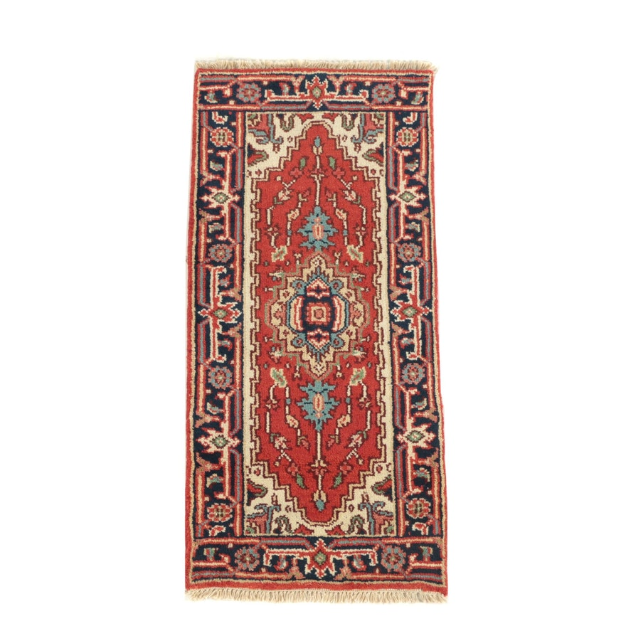 Hand-Knotted Ind-Persian Heriz Wool Accent Rug