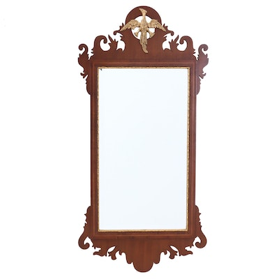 George III Style Mahogany and Parcel-Gilt Beveled Mirror