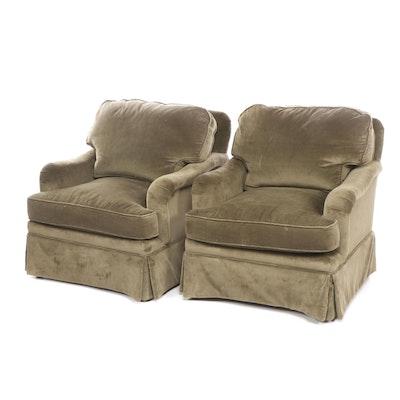 Pair of Pearson Furniture Olive Green Velvet Upholstered Armchairs