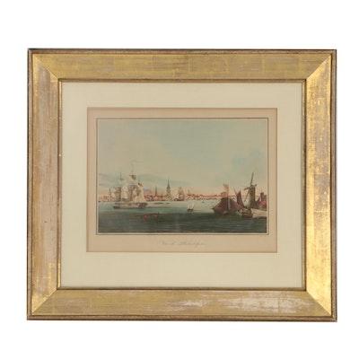 """Ambroise-Louis Garneray Etching with Aquatint """"Vue de Philadelphie"""""""