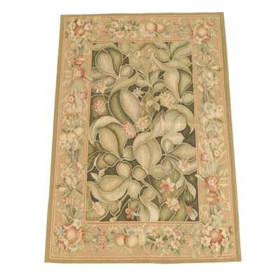Handwoven and Embroidered Aubusson Style Foliate Slitweave Kilim