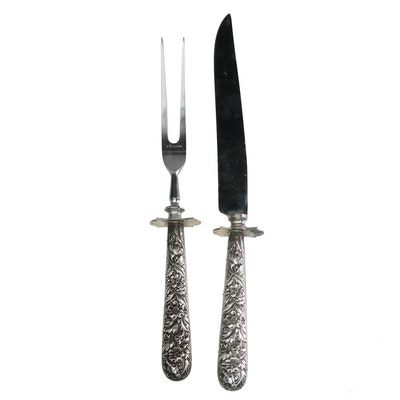 """G. H. French & Co. """"Repoussé"""" Sterling Handled Carving Set, Early 20th Century"""