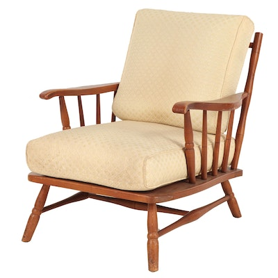 Conant Ball Wooden Lounge Chair with Cream Upholstery, 1960s-1970s