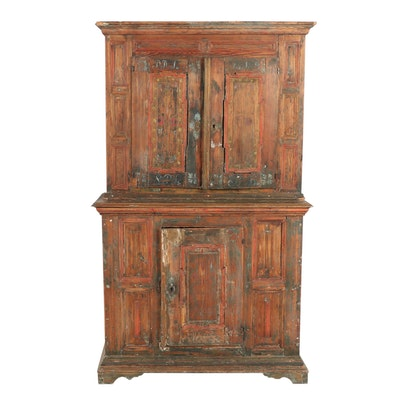 Wooden Swedish Wedding Country Style China Cabinet Circa 1843