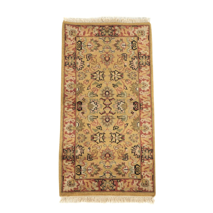 Hand-Knotted Indo-Persian Kashan Wool Accent Rug