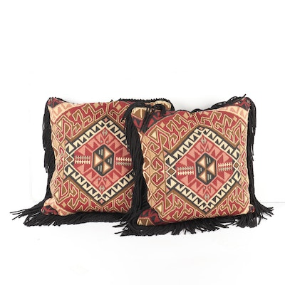 Kilim-Faced Woven Throw Pillows with Fringe