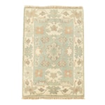 Hand-Knotted Ind-Turkish Oushak Wool Accent Rug
