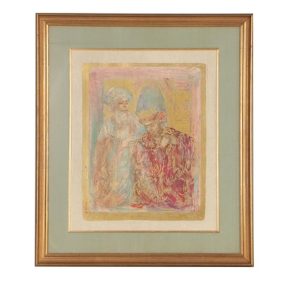 "Edna Hibel Color Lithograph ""Nathan and David"""