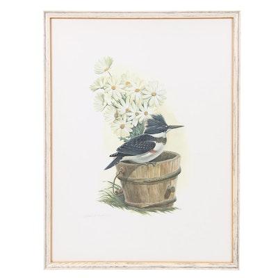 Offset Lithograph after John Ruthven of Kingfisher Bird