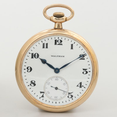 Antique Waltham 14k Gold Filled Open Face Pocket Watch, 1917