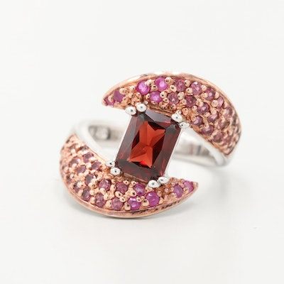 Sterling Silver Garnet and Ruby Bypass Ring