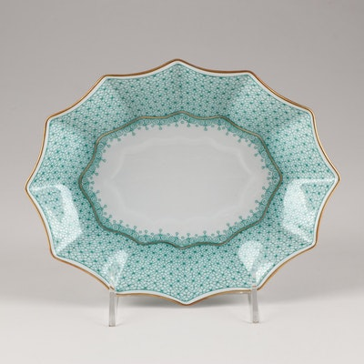 "Mottahedeh ""Aqua Lace"" Scalloped Dish"
