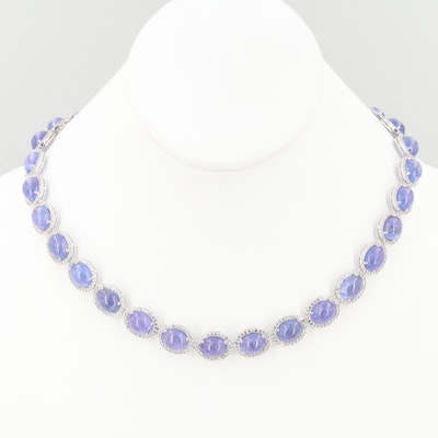Sterling Silver Tanzanite and White Topaz Necklace