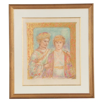 "Edna Hibel Color Lithograph ""Jonathon and David"""
