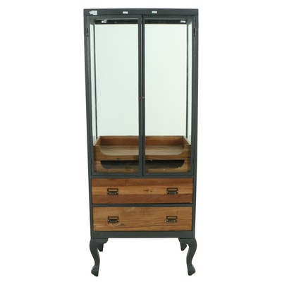 """Industrial Style """"Savile Row"""" Pine and Metal Display Case"""