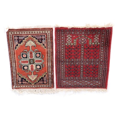 Hand-Knotted Turkmen Wool Ensi Rug and Persian Wool Rug