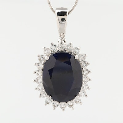 Sterling Silver Corundum and White Topaz Necklace