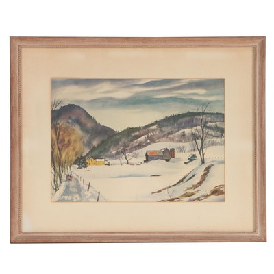 Offset Lithograph after Ranulph Bye of a Winter Landscape