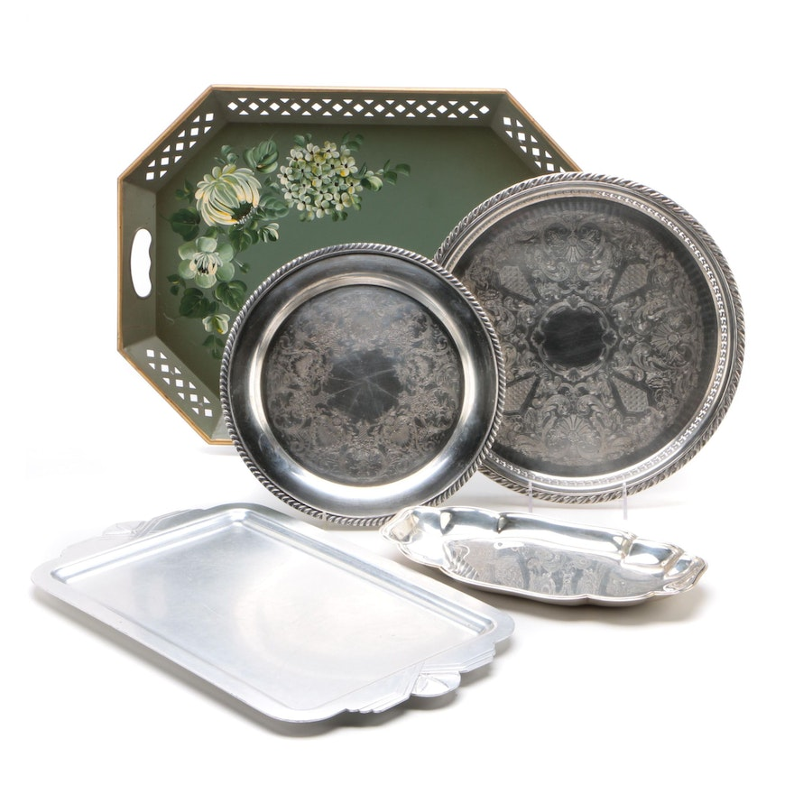Nashco Tole Tray and Other Assorted Serving Trays Including Gorham
