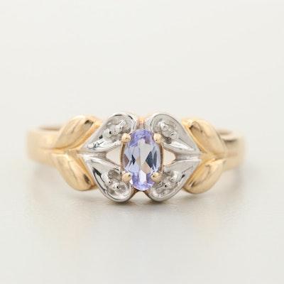 10K Yellow Gold Tanzanite and Diamond Ring