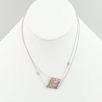 14K White Gold 1.03 CTW Diamond Pendant Necklace and 18K White Gold Chain