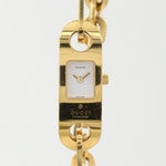 Gucci 6100L Gold Tone Stainless Steel Wristwatch