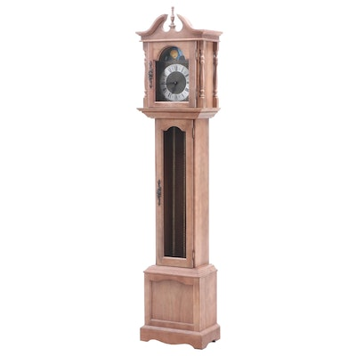 Emperor Bleached Maple Grandfather Clock, Mid to Late 20th Century